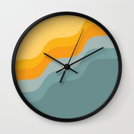 Zen Waves Abstract Geometric Art in Sunset Colors of Ocean and Sun Wall Clock