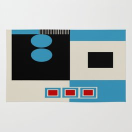 Abstract in Blue, Black, Red and Beige. See Companion Piece Rug