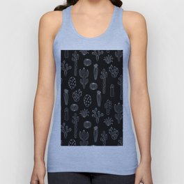 Cactus Silhouette White And Black Unisex Tank Top