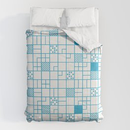Boxes Blue Pattern Comforters