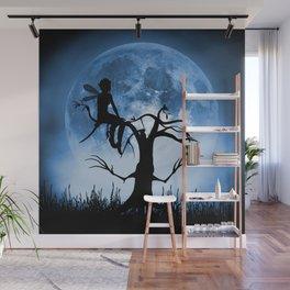 Moonlight Wondering Fairy - Blue Wall Mural