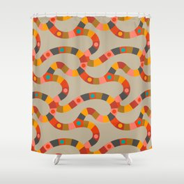 VINTAGE GAME BOARD - in Retro Earthy Shower Curtain