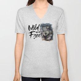 Wolf Wild and Free Unisex V-Neck