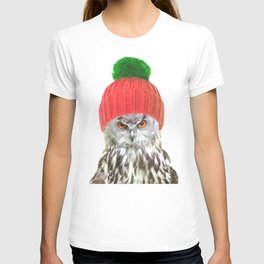 Owl with cap winter holidays T-shirt