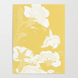 japanese flowers. Yellow Poster