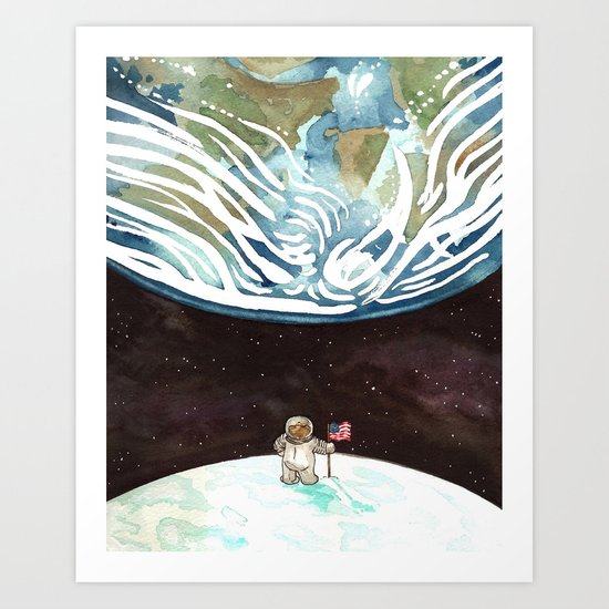 Bear on the Moon Art Print