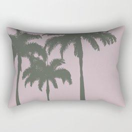 Palm trees illustration on pink background Rectangular Pillow