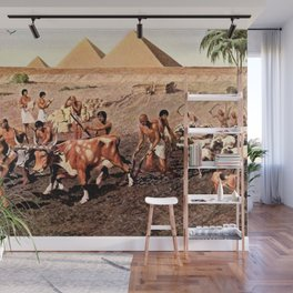 Classical Masterpiece Egyptian Farmers & Giza Pyramids by Herbert Herget Wall Mural