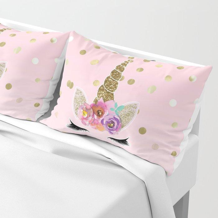 Floral Trendy Modern Unicorn Horn Gold Confetti Pillow Sham