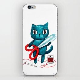 Sewing cat iPhone Skin