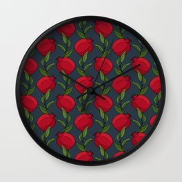Pomegranate Branches on Slate Blue Wall Clock