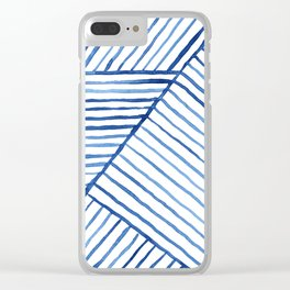 Abstract geometric blue stripes watercolor print Clear iPhone Case