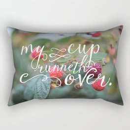 My Cup Runneth Over Encouraging Raspberry Nature Photograph Rectangular Pillow