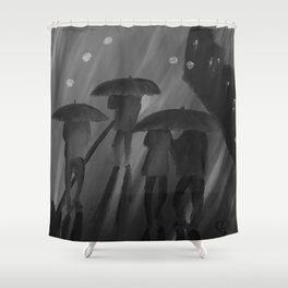 Feeling Blue by Lu, black-and-white Shower Curtain