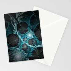 Turquoise Fractal Stationery Cards