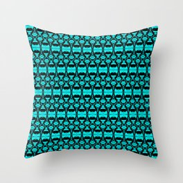 Abstract Pattern Dividers 02 in Turquoise Black Throw Pillow
