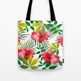 Hibiscus Flower and Leaf Tote Bag