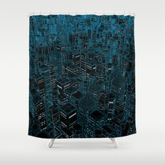 Night light city / Lineart city in blue Shower Curtain