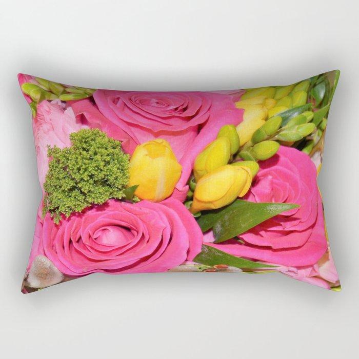 Bouquet of Hot Pink Roses Rectangular Pillow