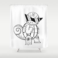 squirtle Shower Curtains featuring Squirtle de los Muertos | Pokémon & Day of The Dead Mashup | Dia de los Muertos by Aaron Bowersock