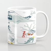 ski Mugs featuring SKI LIFTS by BLUE VELVET DESIGNS