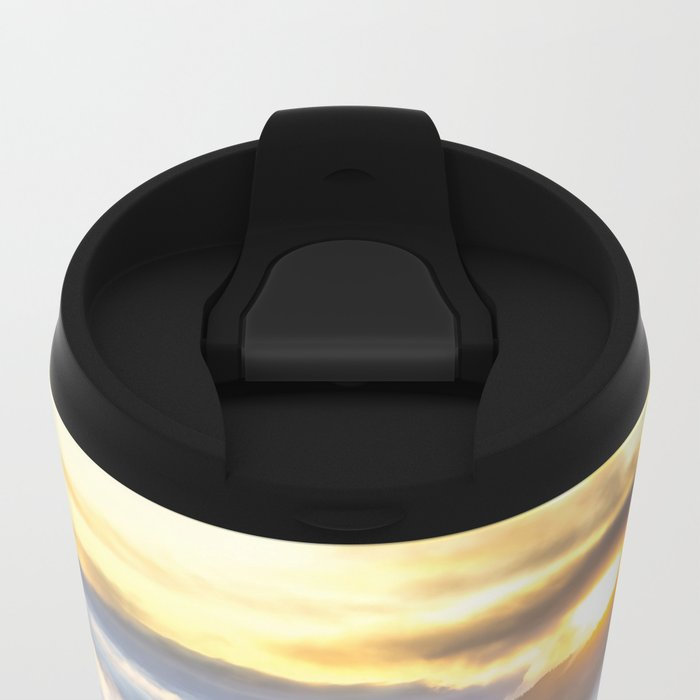 Sunrise and Dust - Mountains - Forest - Wood - Trees - Fog Metal Travel Mug