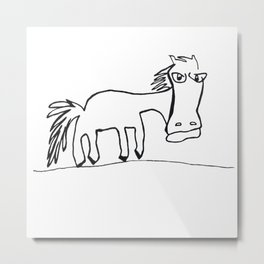 Grumpy Horse Metal Print