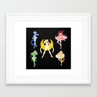 sailor moon Framed Art Prints featuring Sailor Scouts / Sailor Moon by Sara Eshak