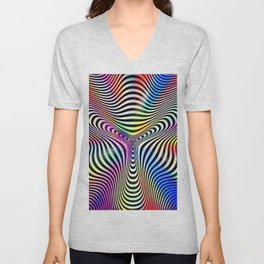 Holographic hypnotic pattern. Colorful iridescent effect. Unisex V-Neck