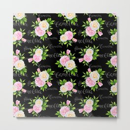 Watercolor blush pink white black camellia floral typography Metal Print