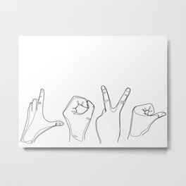 I Love You Hand Gesture  Metal Print