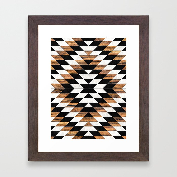 Urban Tribal Pattern No.13 - Aztec - Concrete and Wood Framed Art Print