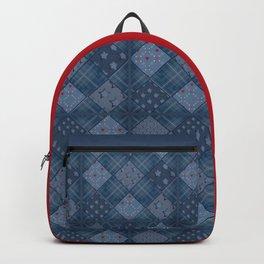 Seamless jeans denim patchwork pattern background Backpack