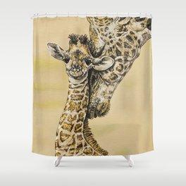 baby giraffe and mom Shower Curtain