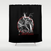 tesla Shower Curtains featuring Tesla: God of Thunder by The Cracked Dispensary
