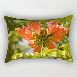 """Flaming-red Peacock (i)"" by ICA PAVON Rectangular Pillow"