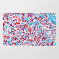 vienna Area & Throw Rugs featuring Vienna City Map Poster by Vianina