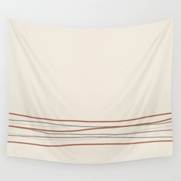 Off White Solid Color with Minimal Scribble Stripes Bottom Brown, Gray, And Beige Wall Tapestry
