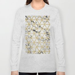 Stylish white marble faux gold glitter triangles pattern Long Sleeve T-shirt