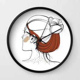 Red-haired woman with freckles. View from the back. Abstract face. Fashion illustration Wall Clock