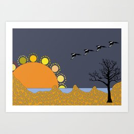 Magpies in sunset Art Print