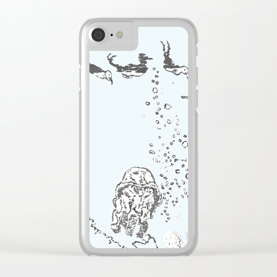 Two Tailed Duck and Jellyfish Pale Blue Clear iPhone Case
