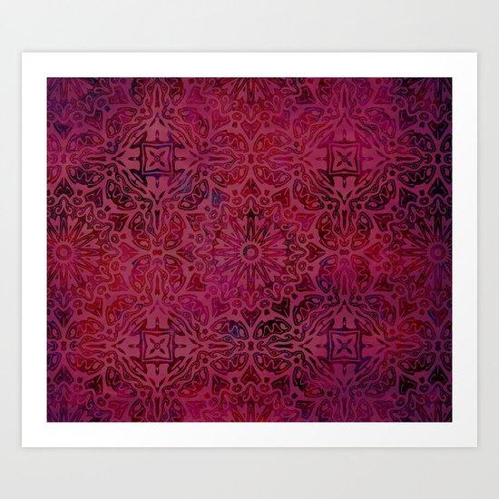 Retro Red textured oriental pattern Art Print