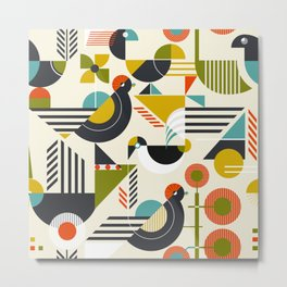 Seamless pattern with stylized birds in retro bauhaus style Metal Print