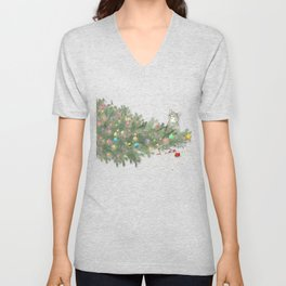 Cat knocked over the Christmas tree Unisex V-Neck