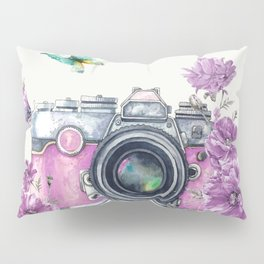 Camera with Summer Flowers 2 Pillow Sham