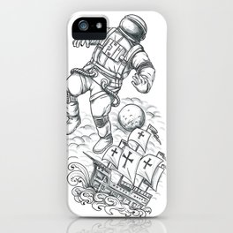 Astronaut Tethered to Caravel Tattoo iPhone Case