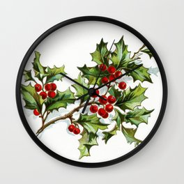 Holly Berries 001 by JAMFoto Wall Clock