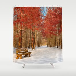 Ruby Winter Trail Shower Curtain