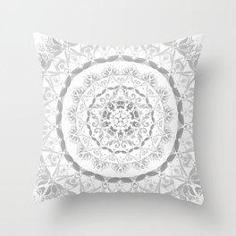Gray Floral Damask Mandala Throw Pillow